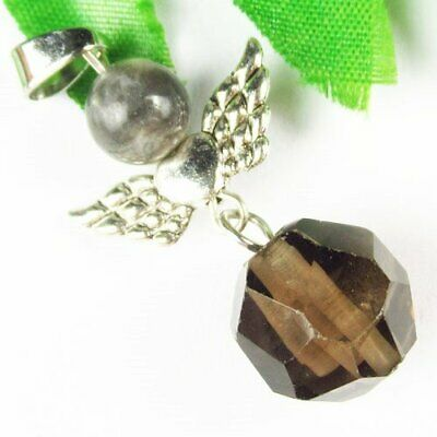 Carved Tibetan Sliver Wing Brown Titanium Crystal Ball Pendant Bead A04873