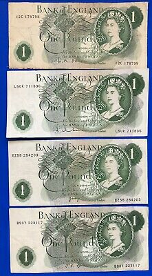 4x Bank of England One pound, O'Brien Hollom Page Fforde banknotes *[19468]