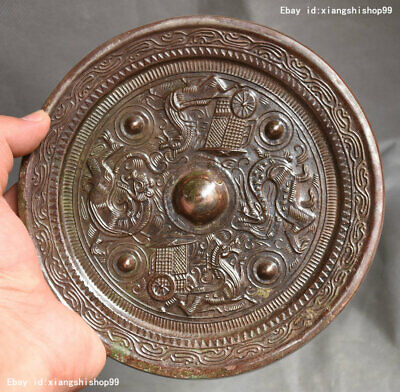 Details about  /Chinese collection antiques exquisite two dragon emblazonry bronze mirror