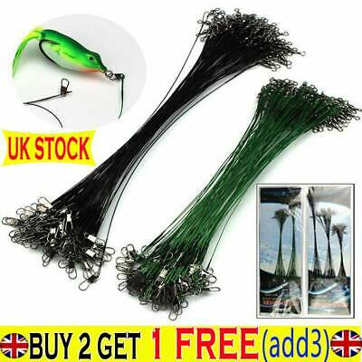 100Pc 15//20//24//30cm Lure Coated Trace Fish Wire Leader Spinner Pike Sea Fishing