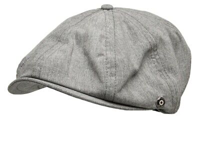 Ben Sherman Mens Jamison Grey Tweed Herringbone Newsboy Country Flat Cap Hat