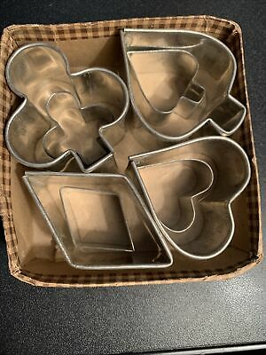 Heart Star Club and Moon Baking Home and Cooking Cookies Spade Six  Metal Cake Sandwich Cookie Cutters Bridge Luncheon Diamond