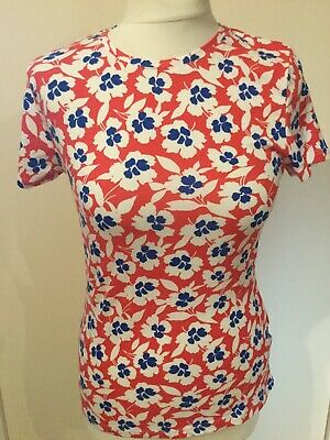 Ladies M/&S Colection Floral Print Stay New Cotton Top With Stretch U.K 18 BNWTS