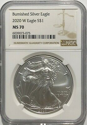 2020 W $1 Ngc Ms70 Burnished Silver American Eagle .999 Fine Silver Brown Label