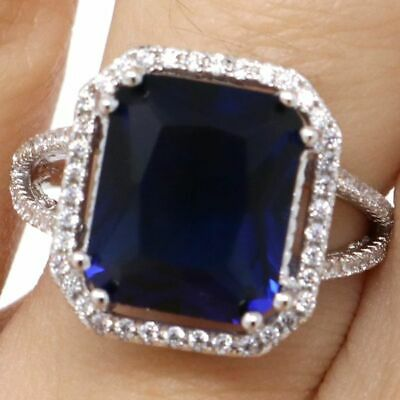 Large 5CT Radiant Blue Sapphire Ring Women Birthday Jewelry White Gold Plated