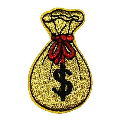 ID 0076ABC Set of 3 Money Sign Bag Patch Gold DIY Embroidered Iron On Applique
