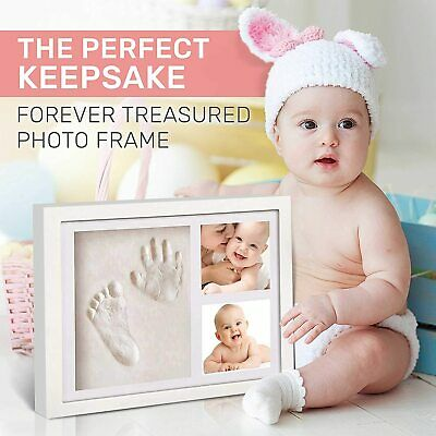 Modern Baby Hand /& Foot Print Clay Cast Photo Picture Frame Christening Gift UK