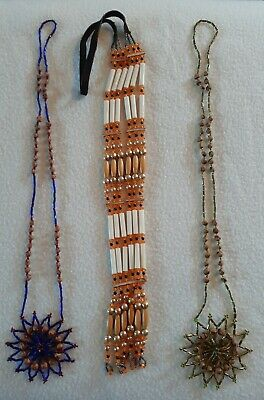 18 White Color with Fire Color Dream Catcher Necklace with Juniper Berry Seeds
