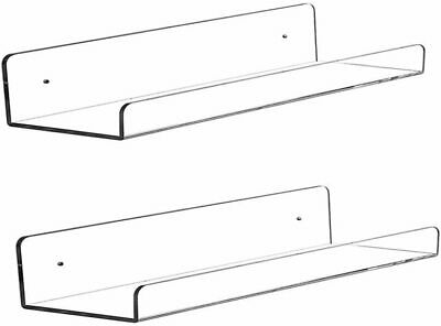 """4 Pack Heavy Duty Clear Floating Shelves 15/"""" Acrylic Invisible Wall Mount Ledge"""