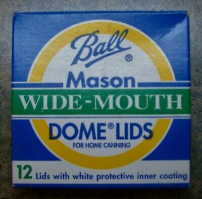 Box of 12 BALL Wide Mouth Mason Canning Jar Lids, GOLD, NOS, Brand New in Box!