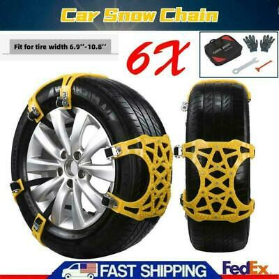 6PCS Snow Tire Chains Car SUV Truck Thickened Anti-skid Emergency Strap w// tool
