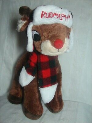 Rudolph the Red Nosed Reindeer 12 Inch Plush with Hat and Plaid Scarf NEW