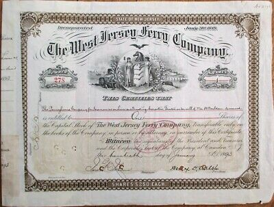 West Jersey Ferry Co. 1893 Stock Certificate - NJ/New Jersey Shipping/Nautical