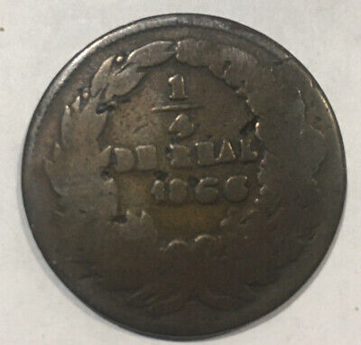 1866 MEXICO CHIHUAHUA 1/4 DE REAL COIN Copper Coin Free Shipping In USA