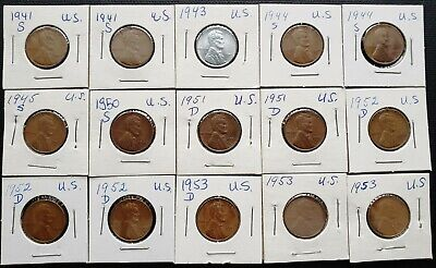 1935-D to 1951-D Lot of 12x USA Lincoln Wheat Cents Dates