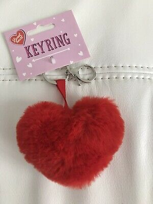 Red Heart - Valentines Key Ring Gift - Faux Fur 3 Ways Pompom /pin cushion