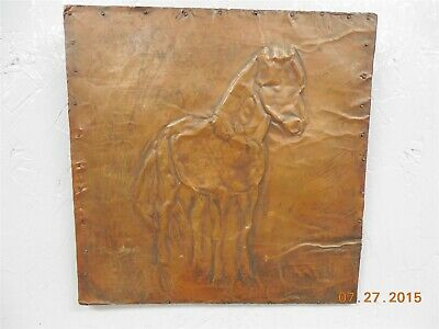 Nice Old Hammered Copper Horse Plaque Wall Hanging