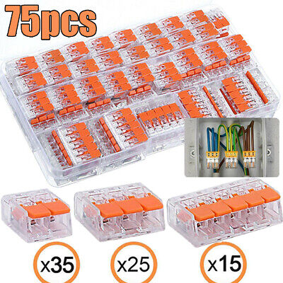 75x Electrical Connectors Wire Block Clamp Terminal Cable Reusable for Wago 221
