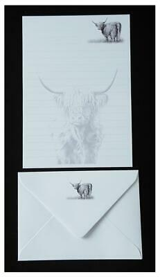 Highland Cow Heilan Coo Letter Writing Paper and Envelope Stationery Set