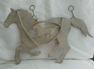 Vintage Rustic Metal Hanging Horse Sign Country Farmhouse Decor