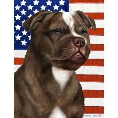 Patriotic (D2) Garden Flag - Chocolate Staffordshire Bull Terrier 322441