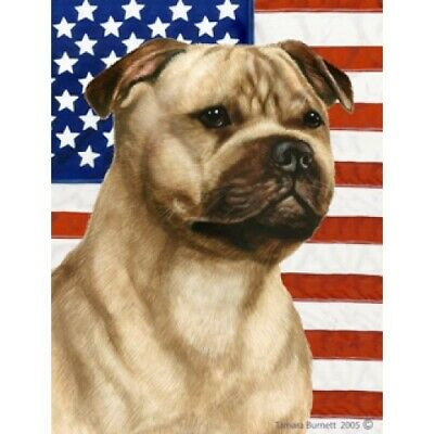 Patriotic (D2) Garden Flag - Fawn Staffordshire Bull Terrier 322451