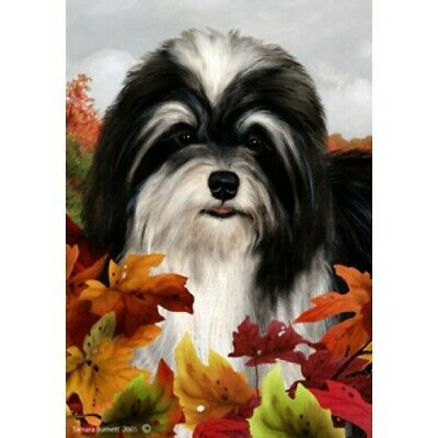 Fall House Flag - Black and White Havanese 13092