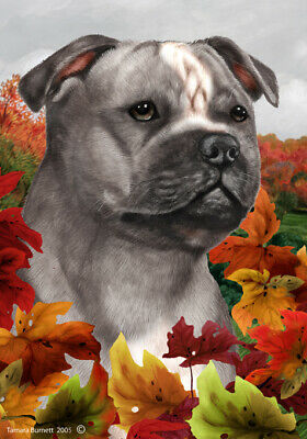 Fall House Flag - Blue and White Staffordshire Bull Terrier 13248
