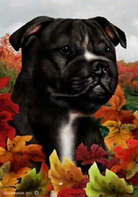 Fall House Flag - Black and White Staffordshire Bull Terrier 13231