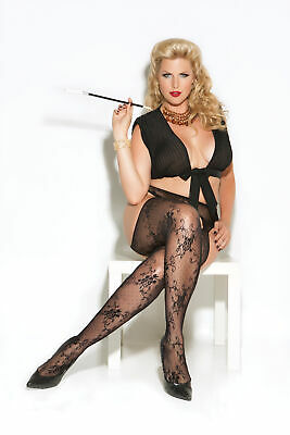 Straps Strumpfhose offen schwarz patterned Nylon S M L Sexy Damen Tights