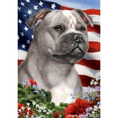 Patriotic (1) House Flag - Blue and White Staffordshire Bull Terrier 16248
