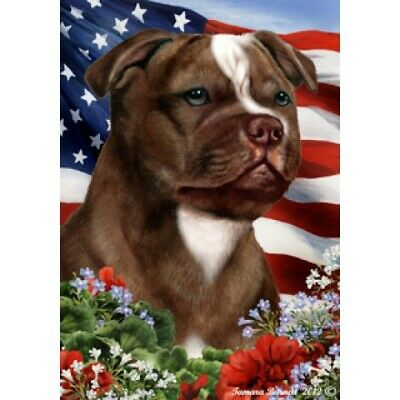 Patriotic (1) House Flag - Chocolate Staffordshire Bull Terrier 16244