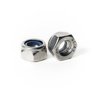 M10 x 1.0 Nylon Insert Lock Nut - Fine Pitch A2 Stainless Steel DIN 985