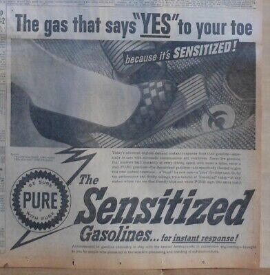 Large 1953 newspaper ad for Pure Oil Co - giant high heel steps on the gas