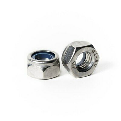 M4 x .7 Nylon Insert Lock Nut A2 Stainless Steel DIN 985