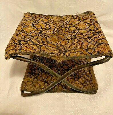 Antique FOLDING Horse WAGON Buggy Double Carpet /Tapestry Seat foot Stool