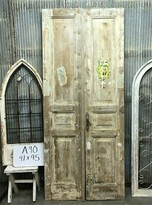 Tall Pair Antique French Double Doors, Raised Panel Doors, European Doors A90