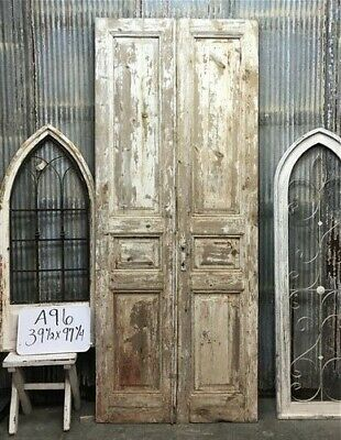 Tall Pair Antique French Double Doors, Raised Panel Doors, European Doors A96