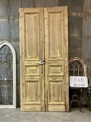 Thick Molding, Antique French Double Doors, European Doors, Tall Pair B48
