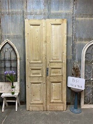 Thick Molding, Antique French Double Doors, European Doors, Tall Pair B51
