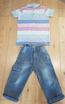 Boys Summer Outfit John Lewis Cargo 3/4 Trousers & NEXT Polo T-Shirt 7 Years VGC