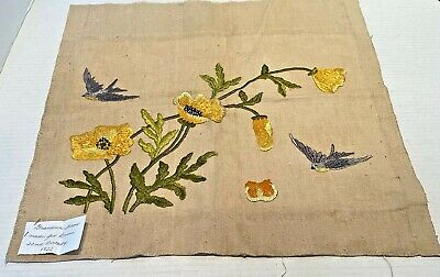 Vintage Embroidered Pillow Front Bluebirds & Flowers 1922