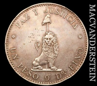 Paraguay: 1889 Peso - Rare  Almost Uncirculated  Key Date  #H8247
