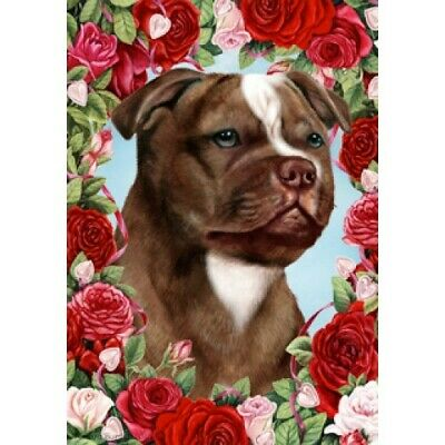 Roses House Flag - Chocolate Staffordshire Bull Terrier 19244
