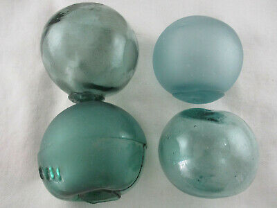 4 VINTAGE Japanese Odd shaped and Dented Glass Floats  Alaska Beach Combed