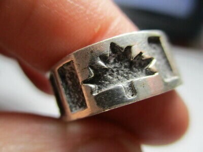 4.5 TO 11 NO RESERVE #222 CANADA 100 YEARS OLD COPPER MAPLE LEAF COIN RING SIZE