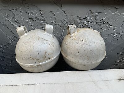 Vintage Aluminum Buoy Fishing Float Set of 2 Old Maritime Collectible