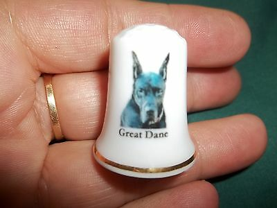 vintage GREAT DANE Dog Collectible ceramic Thimble figurine Lim.Edition