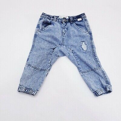 Zara Boys Collection Blue Distressed Cotton Jeans Baby Size 12-18 Months