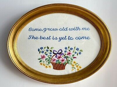 Embroidered Saying in Custom Gold Frame